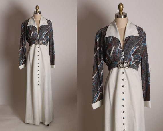 1970's White, Black, Dark Purple and Blue Swirl Marbled Lurex Print Long Sleeve Dagger Collar Formal Dress -L
