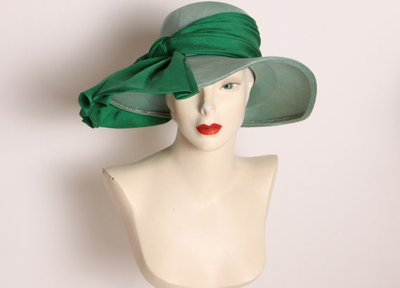 1950s Green Wide Brim Bow Detail Formal Hat by Sonni California