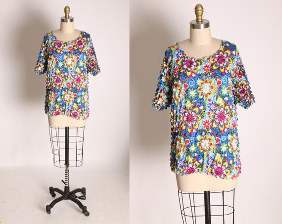 1990s Multi-Colored Flower Power Floral Short Slee