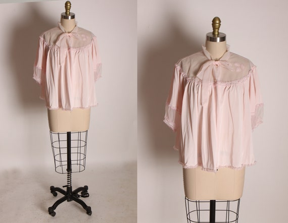 1950s Light Pink Sheer Nylon Detail Half Sleeve Bow Closure Bed Jacket by Shadowline -XL