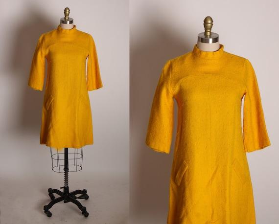 1960s Golden Yellow 3/4 Length Sleeve Go Go Mod Mini Dress -S