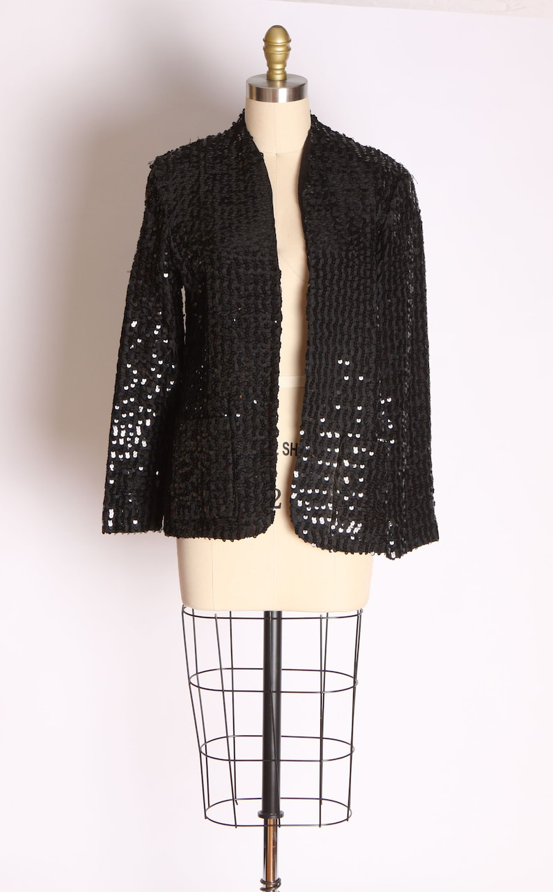 M 1970s Black Sequin Open Front Tuxedo Style Jacket by Miss H
