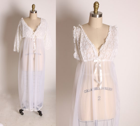 Late 1960s Early 1970s Sheer White Wide Strap Lace Trim Night Gown with Matching Sheer Robe Two Piece Peignoir Lingerie Set by Belle Smith