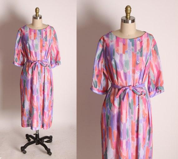 1970s Pink, Purple and Orange Half Sleeve Button Bodice Sheath Waist Tie Dress by A Nancy Frock