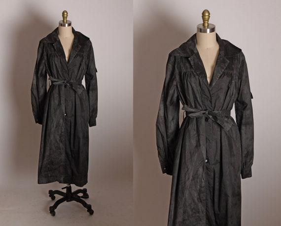 Late 1970s Black and Gray Stone Wash Long Sleeve Button Up Rain Coat Jacket by Marlin -XL