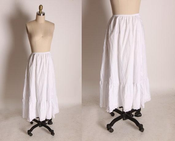1950s 1960s White Cotton Below the Knee Ruffle Petticoat Crinoline Skirt Slip by Mel-Lin -M