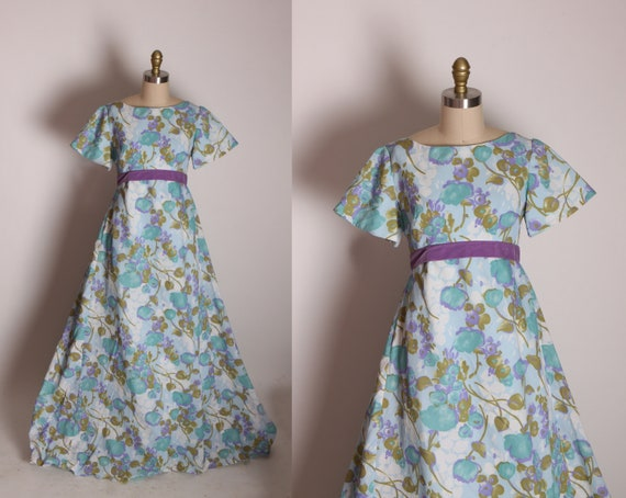 1960s Blue, Purple and Green Short Sleeve Full Length Bridal Style Floral Velvet Bow Formal Dress -XS