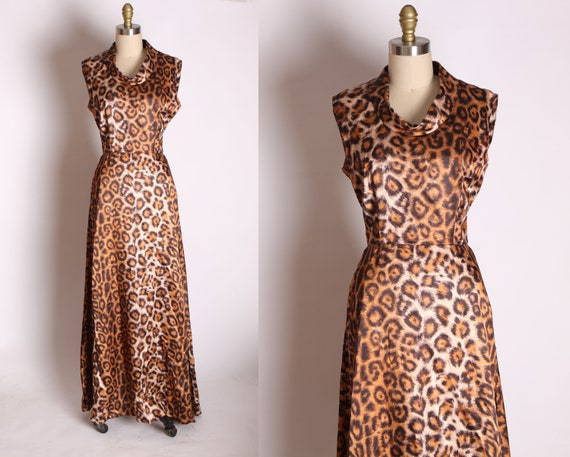 1960s Satin Leopard Print Sleeveless Floor Length