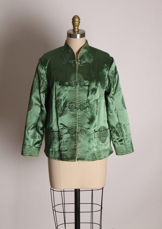 1950s Cream and Green Reversible Chinese Satin Ja… - image 7