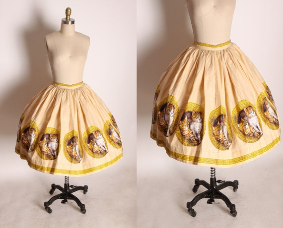 1950s Novelty Tan and Yellow Wicker Kittens Cats Gathered Skirt -XS