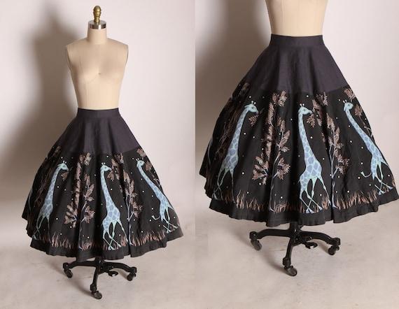 1950s Novelty Black, Gray, Purple, Beige and Blue Giraffe Panel Skirt -S