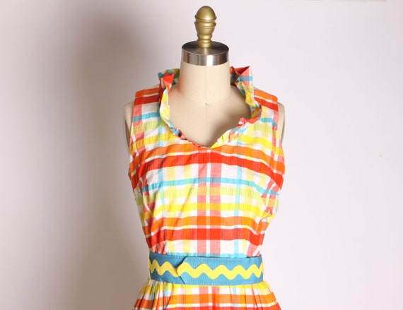 1960s Red Blue Green and Yellow Plaid Zig Zag Ful… - image 3