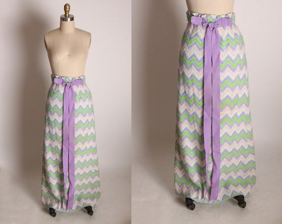 1960s Purple, Pink, Green and White Chevron Zig Zag Full Length Bow Ribbon Detail Elastic Waist Skirt -XS-S