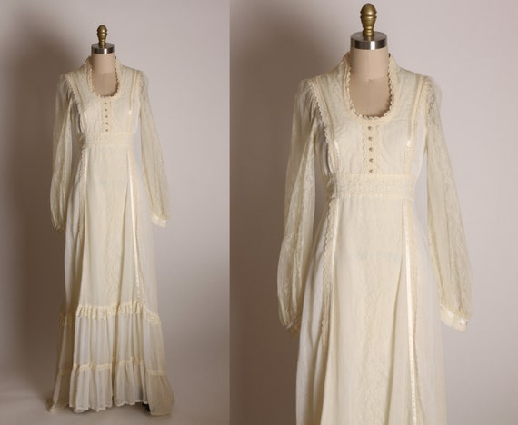 1970s Cream Off White Sheer Long Sleeve Lace Full Length Formal Wedding Cottagecore Prairie Dress by Gunne Sax by Jessica -Size 9