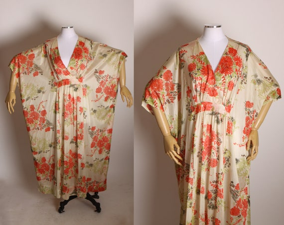 1970s Tan and Red Floral Wide Cut Muu Muu Caftan Dress by Butterfield 8 -One Size Fits Most