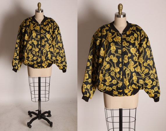 1980s Black and Yellow Gold Novelty Coin Long Sleeve Zip Up Front Puffy Jacket by Braetan -M