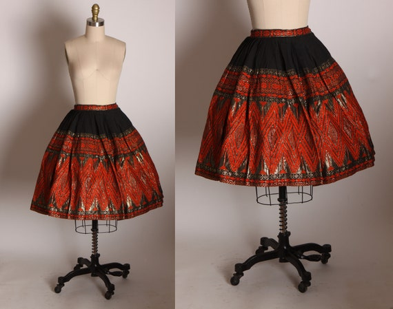 1950s Red, Black and Gold Woven Thick Textile Geometric Pattern Fit and Flare Guatemalan Skirt by Mayan Modern -S