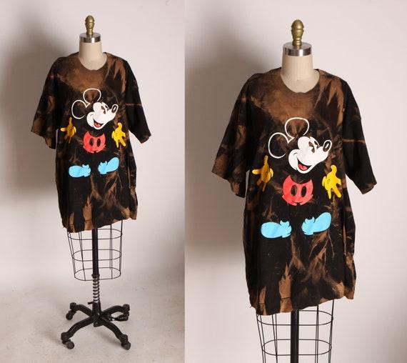 1990s Black Bleach Tie Dye Short Sleeve Mickey Mouse T Shirt by Mickey & Co. -1XL
