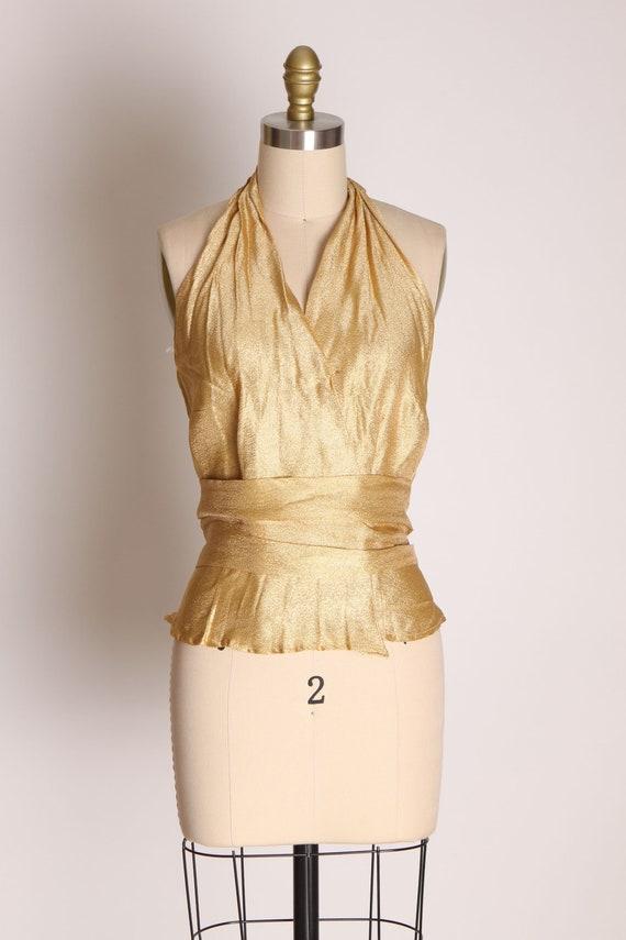 1940s 1950s Gold Lame Halter Top Shirt Blouse -M - image 2