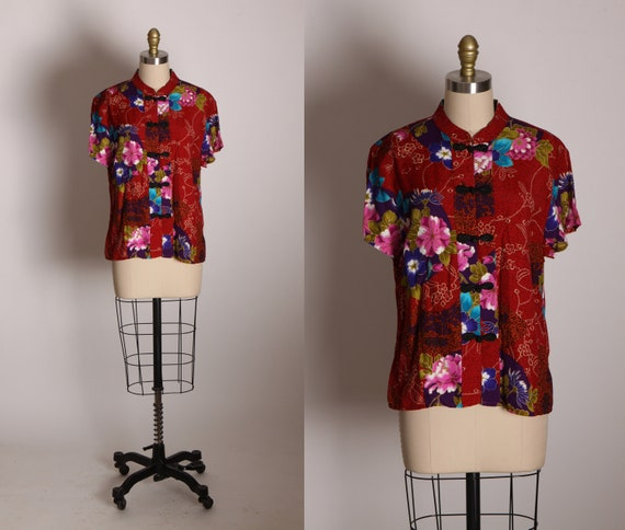 Deadstock Early 1980s Burgundy, Black, Pink and Blue Short Sleeve Frog Closure Blouse by Clio -L