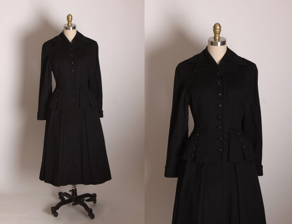 1940s Nipped Waist Tailored Style Button Up Front Long Sleeve Pocketed Fit and Flare Princess Coat by Savage Juliette -S