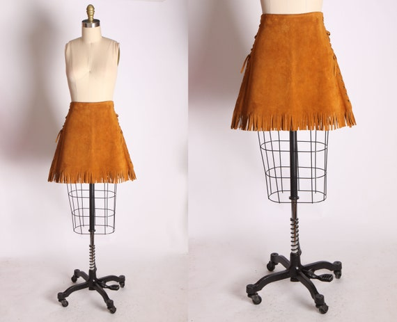 1960s Suede Leather Brown Fringe Lace Up Corset Si