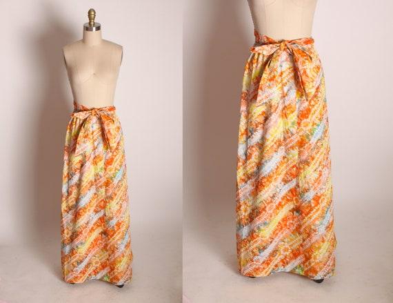1960s Multi-Colored Orange Yellow Tie Dye Hippie Boho Skirt with Matching Belt -M-2XL