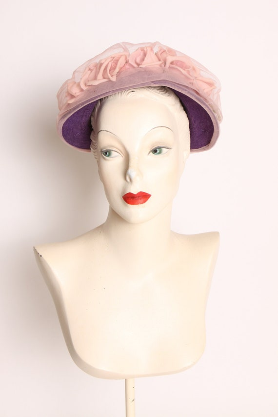 1950s Purple Pink Flower Sheer Overlay Formal Hat