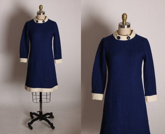 1960s Navy Blue and White 3/4 Length Sleeve White Trim and Button Detail Go Go Mod Mini Dress