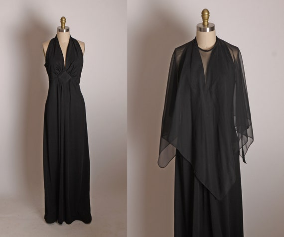 1970s Black Sleeveless Full Length Maxi Formal Cocktail Dress with Matching Sheer Cape by San Gabriel -M