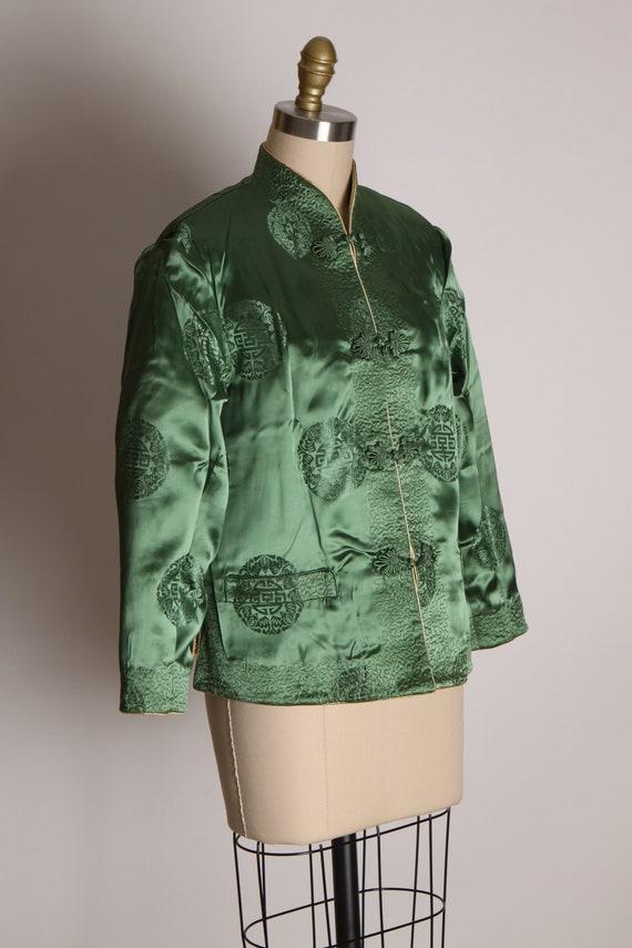 1950s Cream and Green Reversible Chinese Satin Ja… - image 6