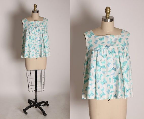 1950s Turquoise Blue and White Novelty Butterfly Pleated Maternity Style Sleeveless Blouse -M