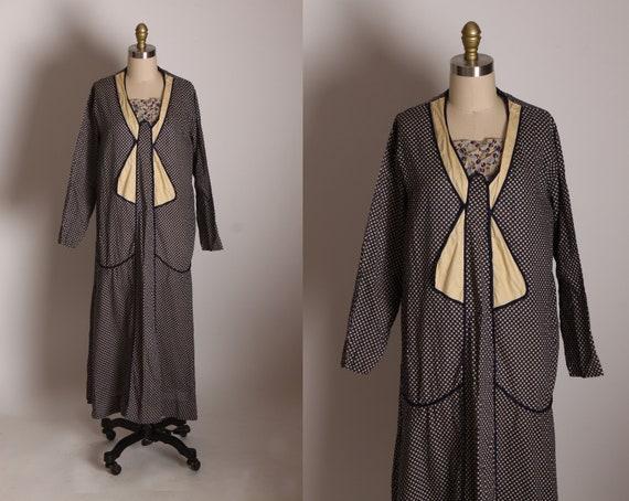 1930s Navy Blue, Light and Cream Polka Dot Long Sleeve Drop Waist Feedsack Dress -1XL