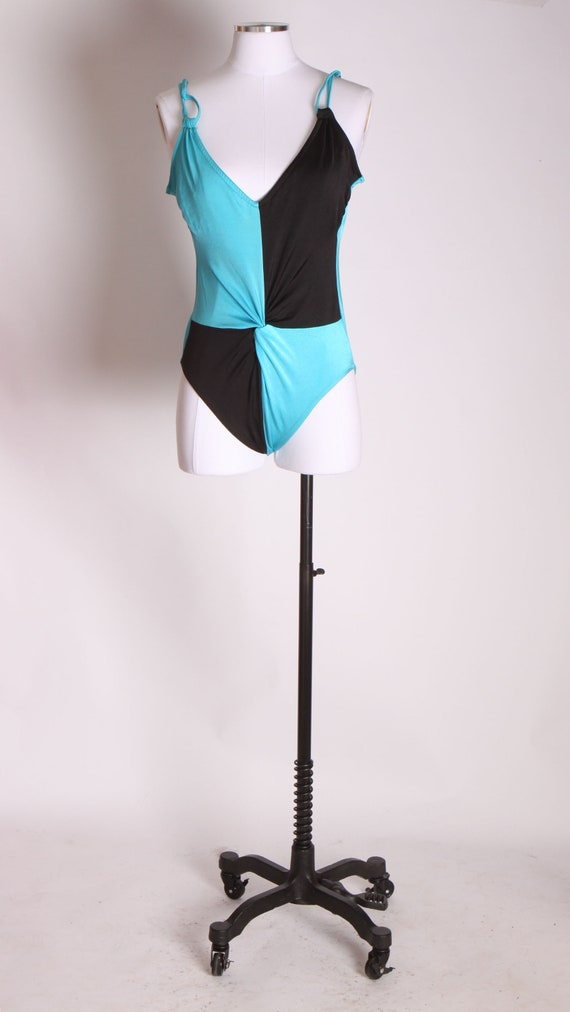 1970s Bright Blue and Black Color Block One Piece Swimsuit by Sirena