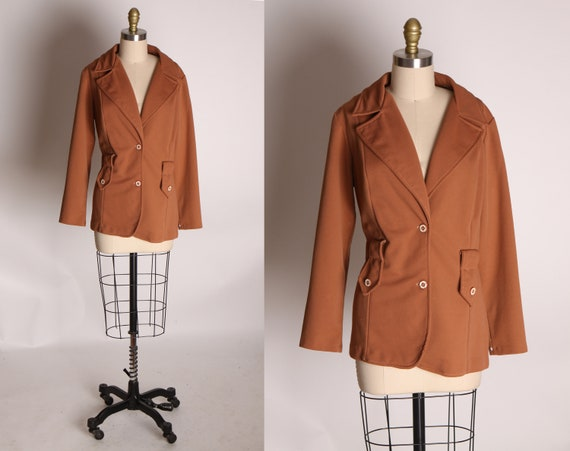 1970s Brown Long Sleeve Belt Loop Polyester Button