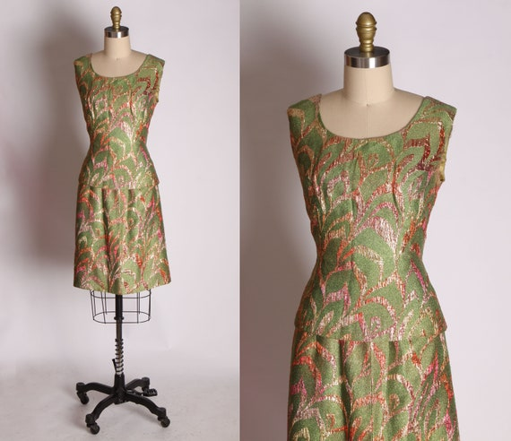 1960s Pea Green And Red Pink Lurex Foliage Leaf Pa