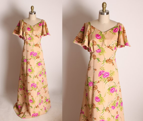 1970s Tan, Brown, Pink and Green Short Flutter Sleeve Full Length Floral Hawaiian Print Dress by Pomare -2XL