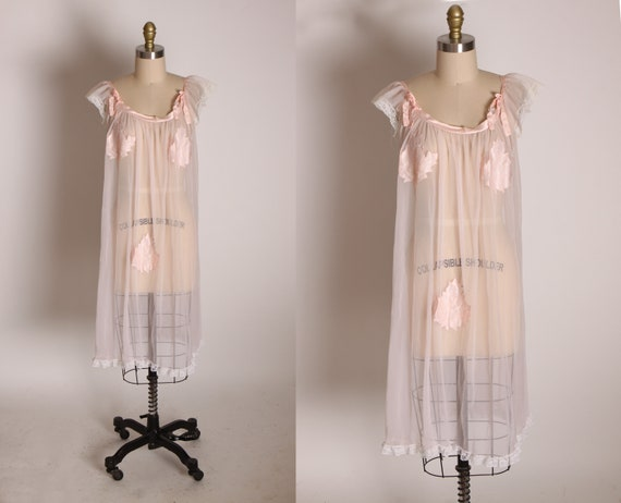 1950s Sheer Nude Illusion Pink Fig Leaf Risque Pin Up Eves Leaves Babydoll Peignoir Night Gown by Chevette -M
