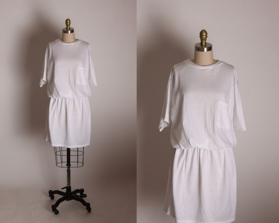 1980s White Short Half Sleeve Elastic Waist Pocket Front Tunic Style Shirt Dress by Isla- One size fits most