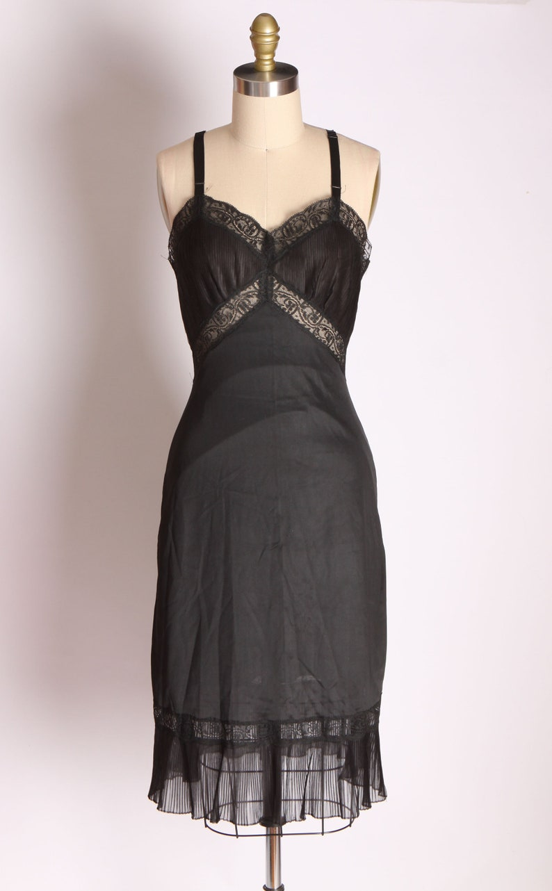 1950s Black Nylon Pleated Hem and Bodice Dress Slip by Charmode