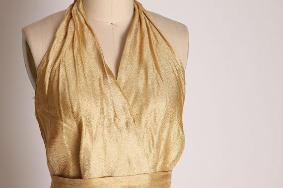 1940s 1950s Gold Lame Halter Top Shirt Blouse -M - image 4