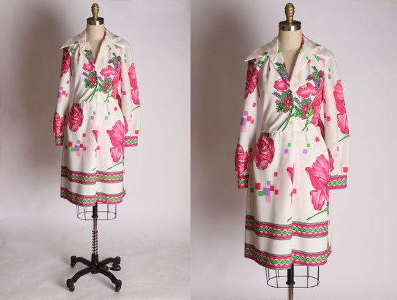 Early 1970s White Polyester Floral Border Print Lo