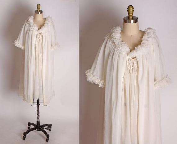 1950s Sheer White Two Piece Nylon Night Gown and R