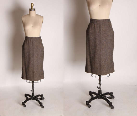 1950s Brown and Blue Flecked High Waisted Pencil S