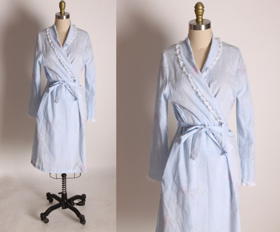 1970s Blue, Pink and White Long Sleeve Floral Inner Tie House Coat Robe by Sears -M