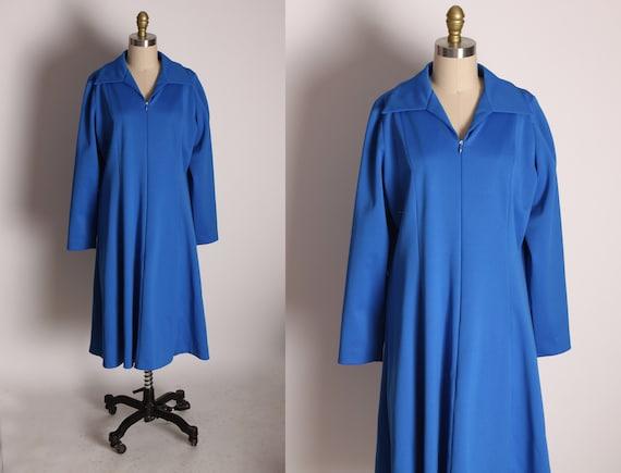 1970s Regal Blue 3/4 Length Sleeve Below the Knee Formal Zip Up Dress -1XL
