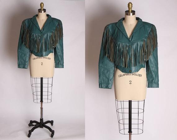 1980s Teal Blue Green High Cut Long Sleeve Fringe