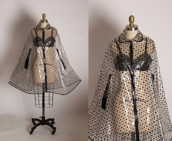 1960s 1970s Clear and Black Polka Dot Raincoat Rain Cape -M