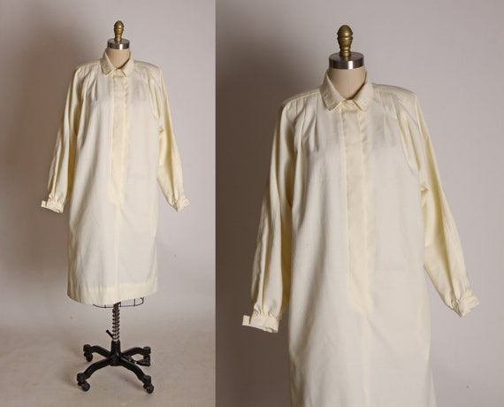 1970s Cream Long Sleeve Button Up Bodice Sheath Dr