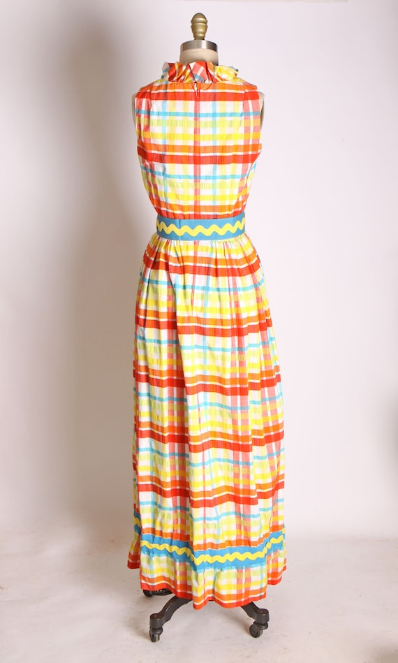 1960s Red Blue Green and Yellow Plaid Zig Zag Ful… - image 6